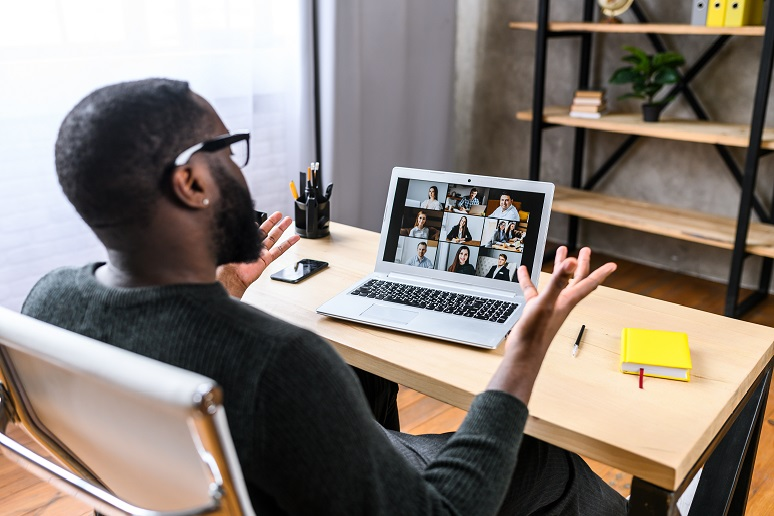 Photo of remote work meeting virtually with colleagues