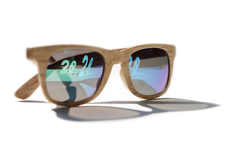 Sunglasses with 2020 in reflection