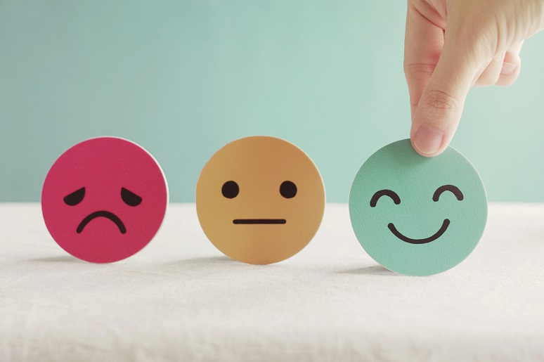 Smiley faces showing different levels of happiness with employee experience