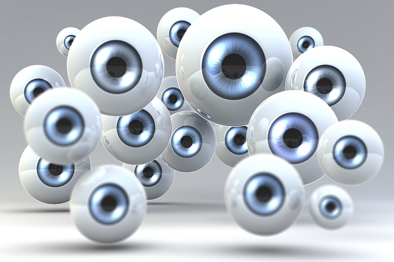 Photo illustration of bunch of eyeballs