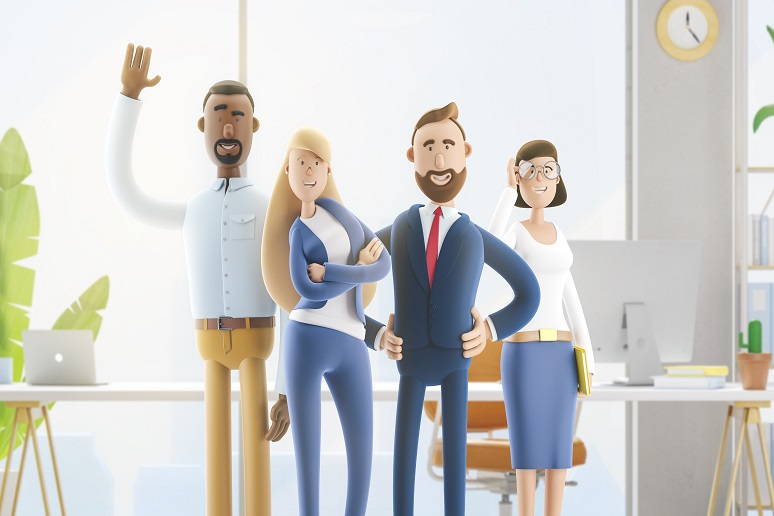 Illustration of business colleagues working in community group