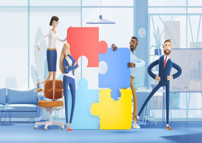 Illustration of workers with puzzle pieces, to show connected workspace