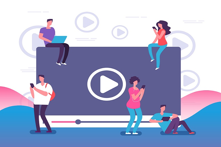 Illustration showing people watching online video