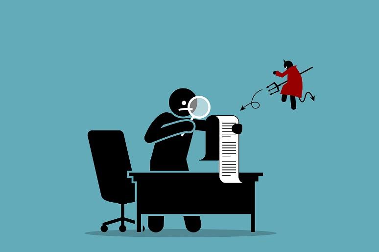 Illustration of devil looking over worker's shoulder