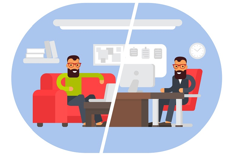 Split screen between man working at home and in the office