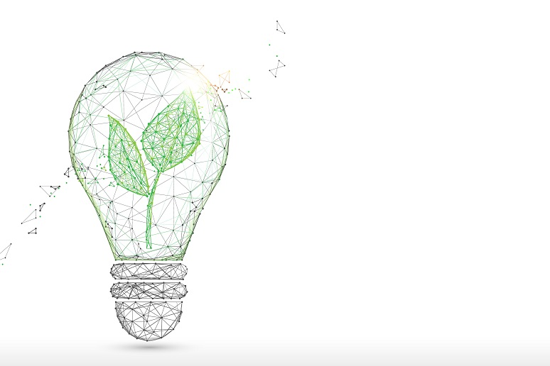Illustration of lightbulb with green plant inside