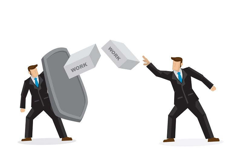 Illustration of two businessmen throwing bricks at each other