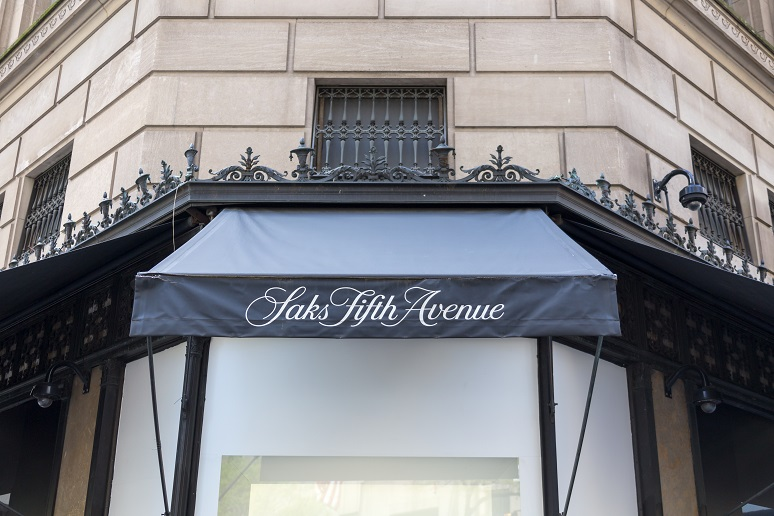 Saks Fifth Avenue on Fifth Aveneue in New York, USA, American chain of luxury department stores