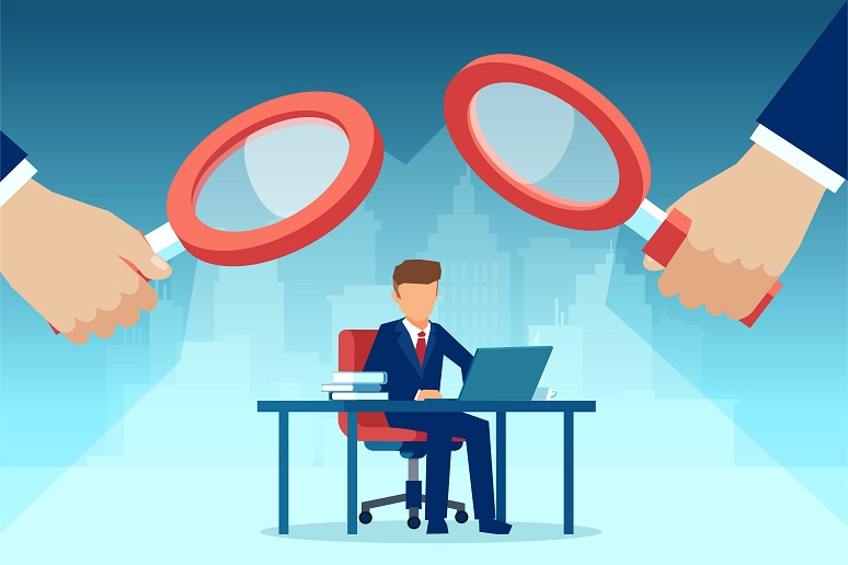 Illustration showing employer looking over employee at desktop with big magnifying glass