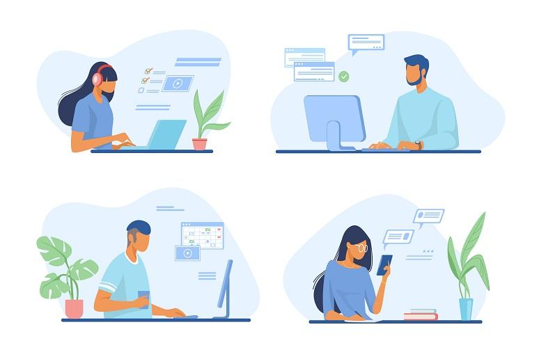 Digital workers at their desktops