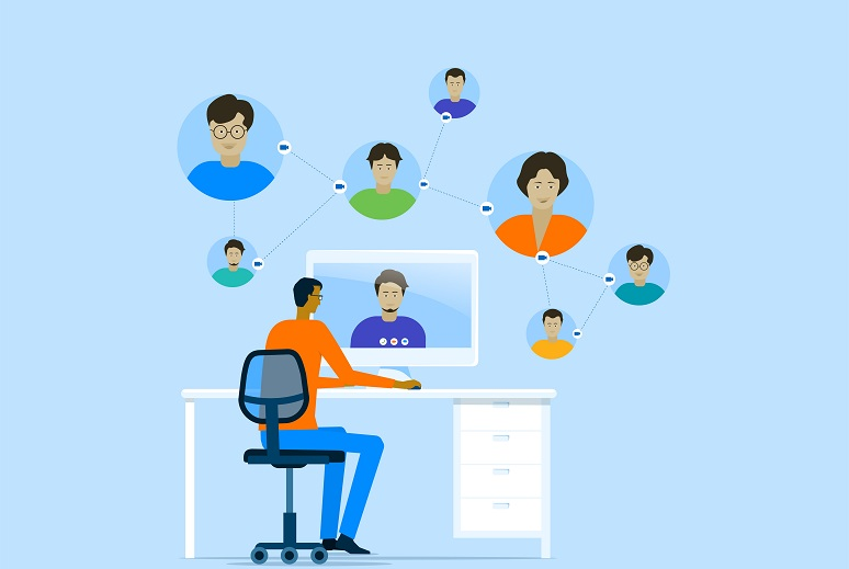 business smart working online with remote working technology and a man meeting from home concept