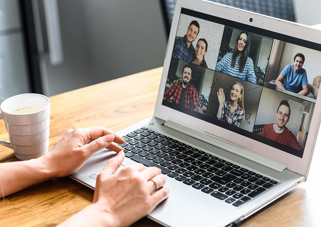 Using a video meeting app to work with coworkers