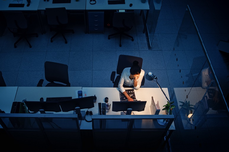 Solitary worker in an office