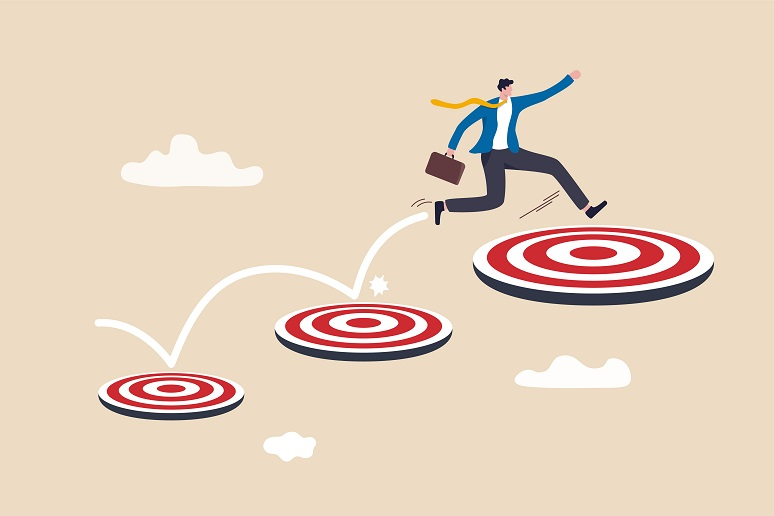 Illustration of businessman jumping from target to target