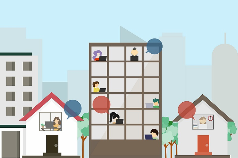 Illustration showing hybrid work -- some people at home, some in the office