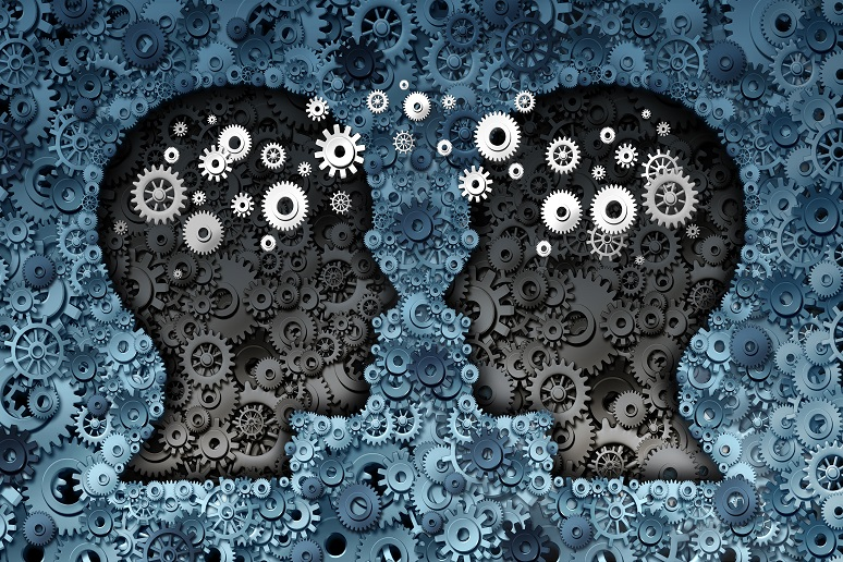 Illustration of two heads exchanging ideas