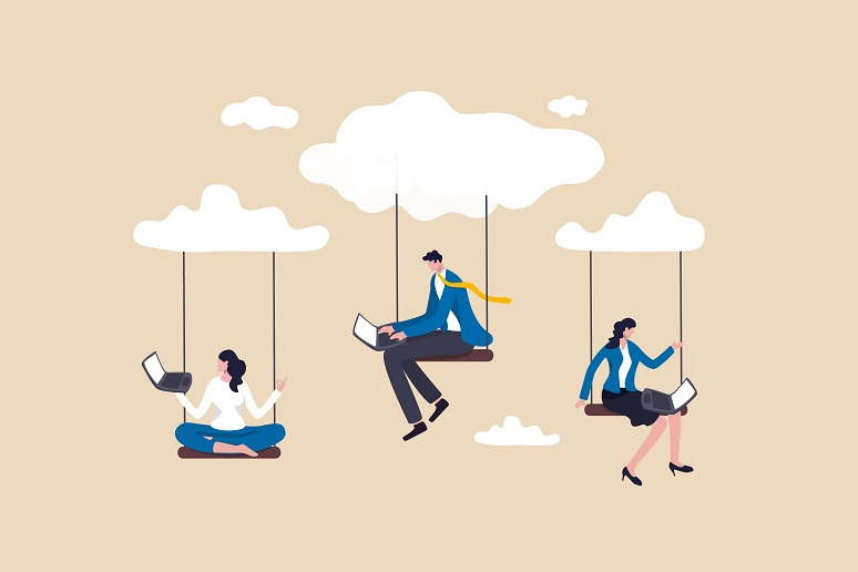 Employees dangling from clouds working on their laptops