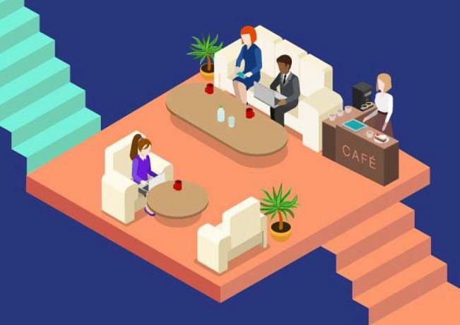 Illustration of modern collaborative office