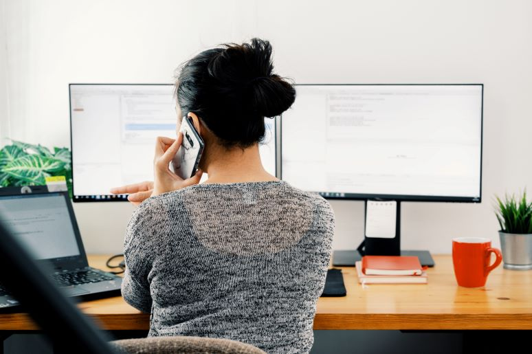 Picture of women working from home office