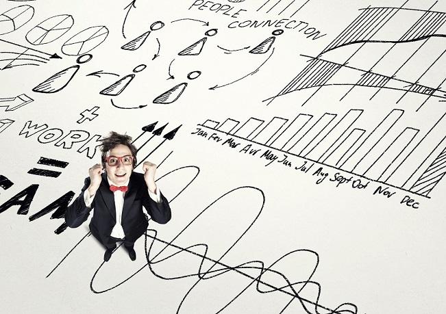Photo illustration of man amid a bunch of statistics