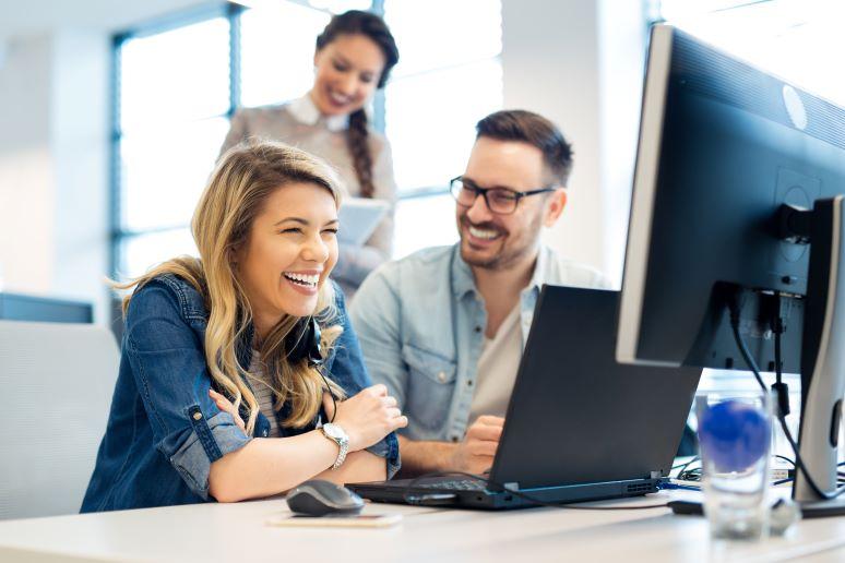 Team members working in office