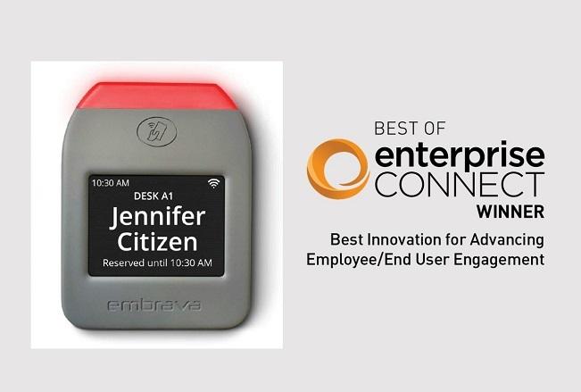 Embrava Desk Sign plus Best of Enterprise Connect logo