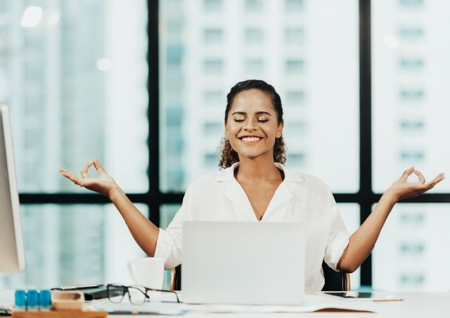 Photo of women being mindful in the office