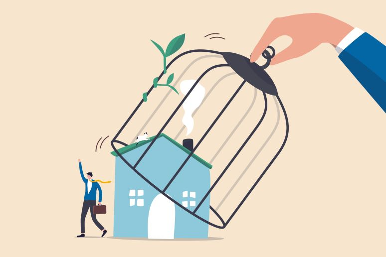 Return to the office illustration -- businessman leaving home