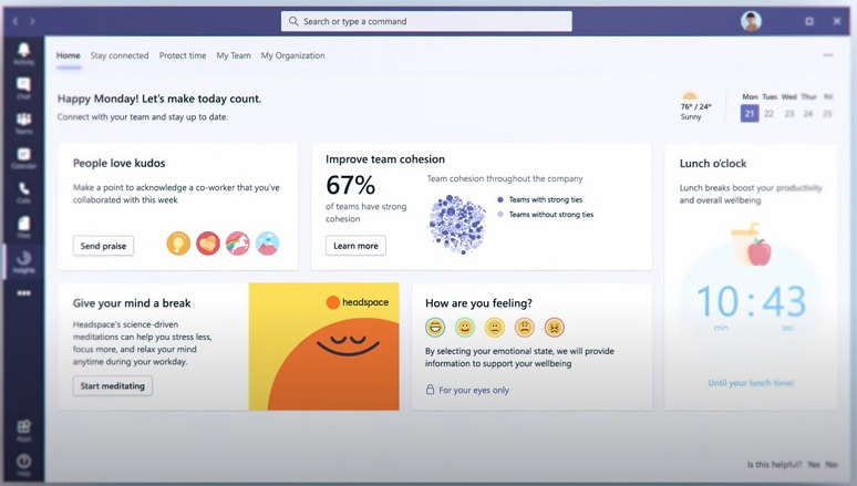 Screenshot of Microsoft Teams interface with well-being prompts
