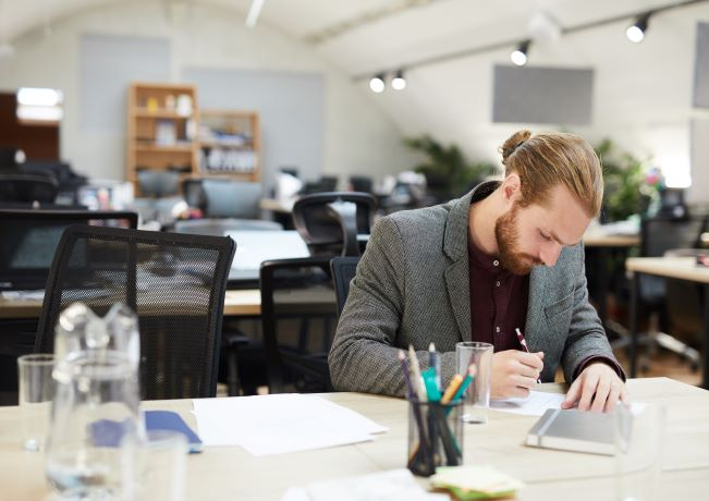 Picture of office worker alone