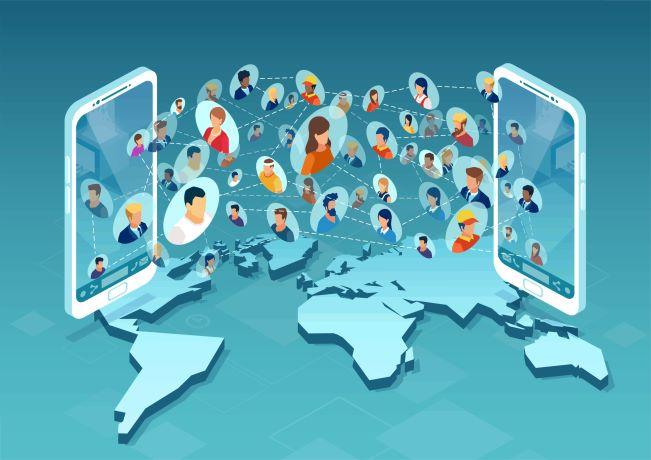 Illustration showing team connectivity across globe