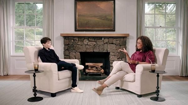 Photograph of Elliot Page and Oprah, from The Oprah Conversation