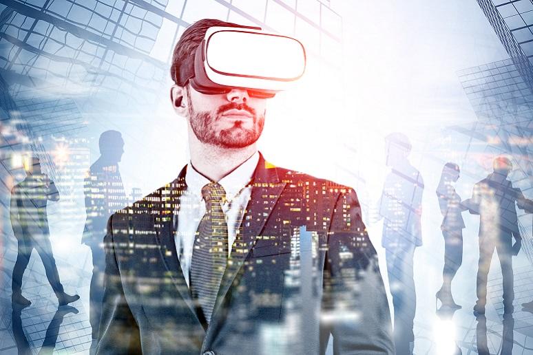 Businessman wearing VR headset
