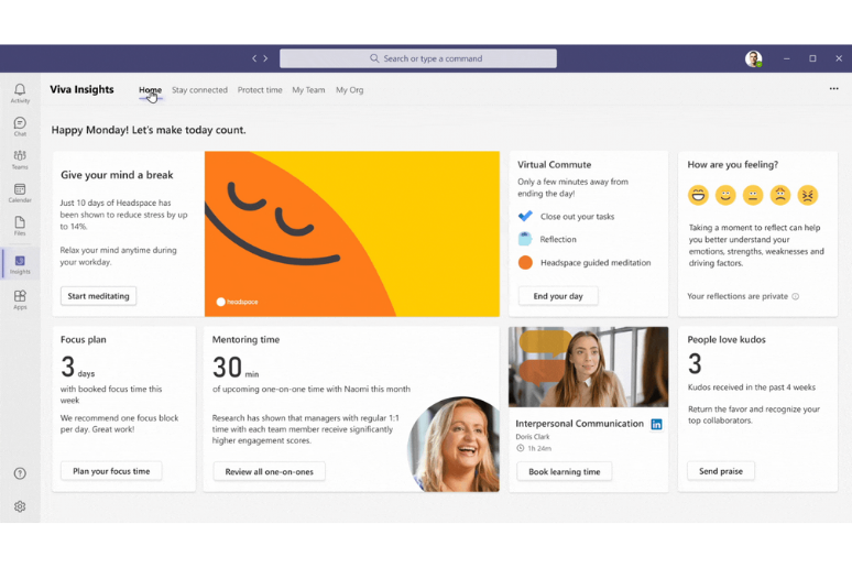 The interface for Microsoft's Viva