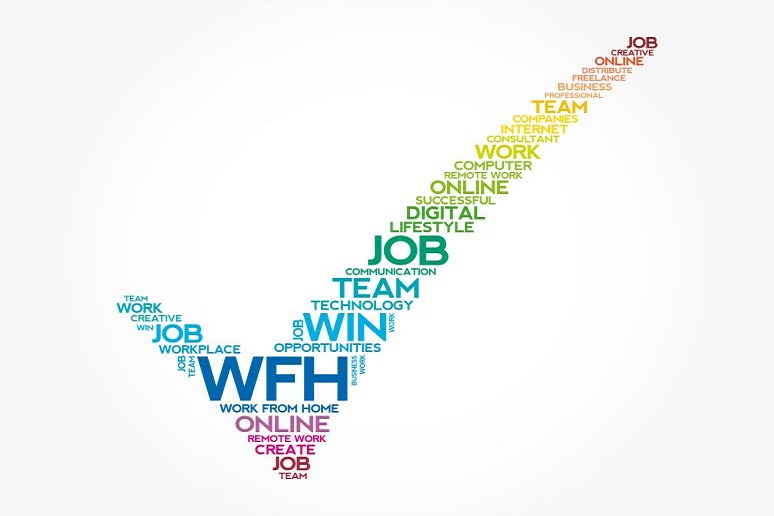 Word collage of WFH terms