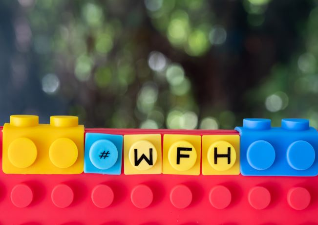 "Image showing ""WFH"" spelled out in legos"