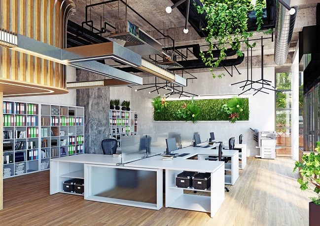 Photo of an office space with lots of greenery