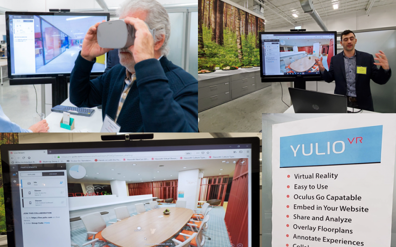 Photo showing virtual reality in use for office design